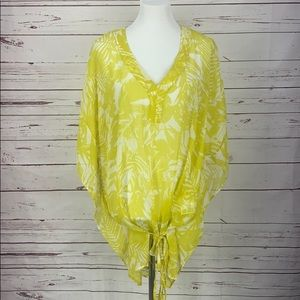 Yessica Yellow Hawaiian Floral Med Swimsuit cover